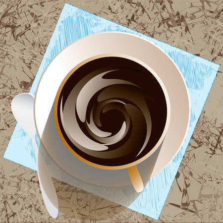 Cup and sauser with coffee,  napkin and spoon from top view Ilustrace