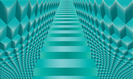 Staircase in the ice palace. Abstract background. Noise structure with cubes. Vector image Ilustrace