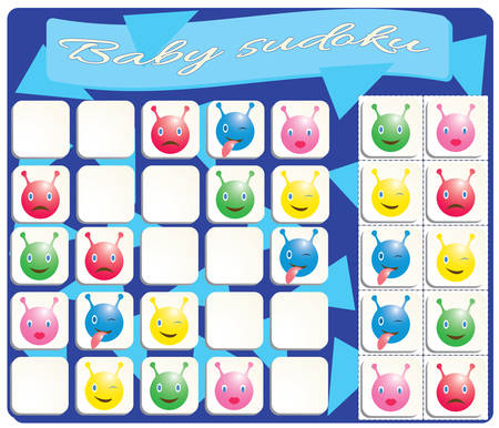 Baby Sudoku with colorful monstres images. Game for preschool kids, training logic