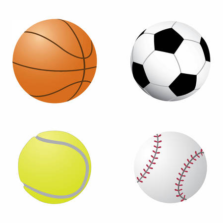Ball collection. Sports equipment game balls football, basketball, tennis and baseball. Symbols set