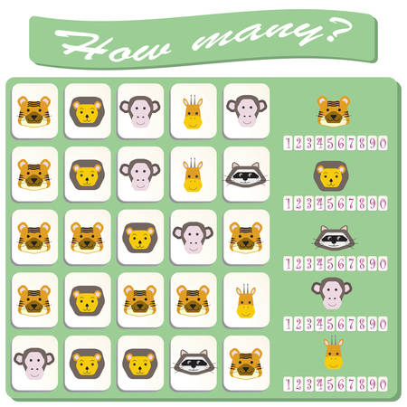 colorful monstres animals images. Game for preschool kids, training logic