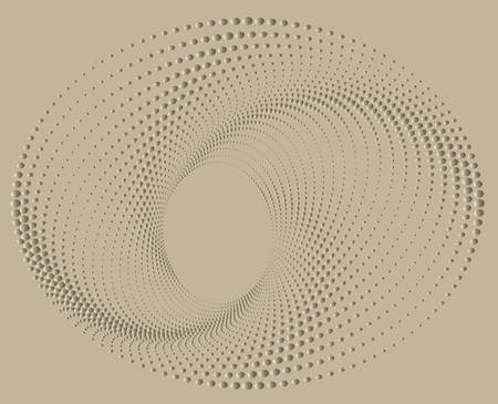 Dotted Halftone Vector Spiral Pattern or Texture. Stipple Dot Backgrounds with Black Circles Ilustração