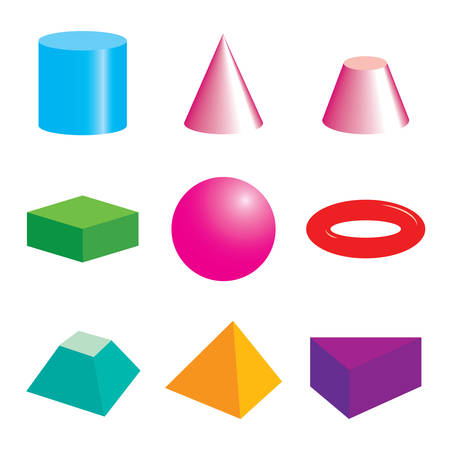 Set of volumetric geometric colored shapes. Illusztráció