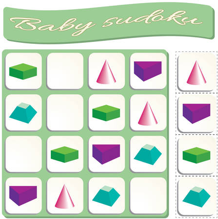 colorful geometric figures. Game for preschool kids, training logic