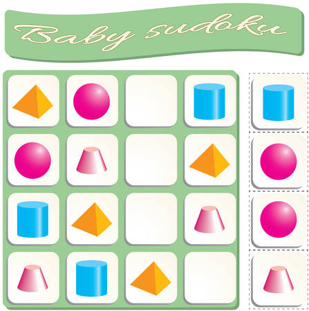 colorful geometric figures. Game for preschool kids, training logic