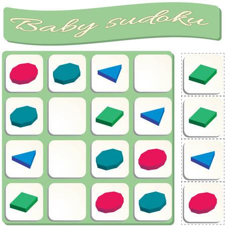 colorful geometric figures. Polygons set. Game for preschool kids, training logic Illustration