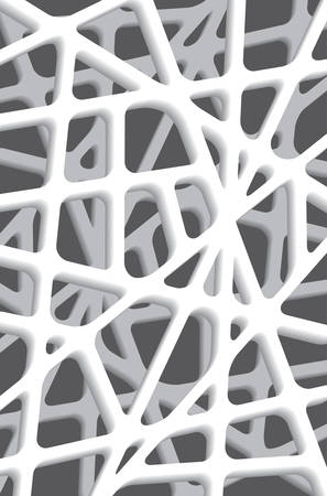 Decorative grid. Gray pattern with carved rounded shapes. 3d sample design. Abstract background for mobile