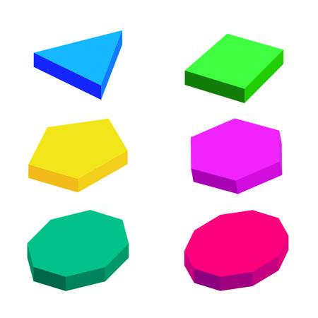 Set of volumetric geometrical colored shapes. Vector illustration Ilustração