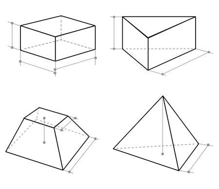 Set of volumetric geometrical shapes contour. Vector illustration