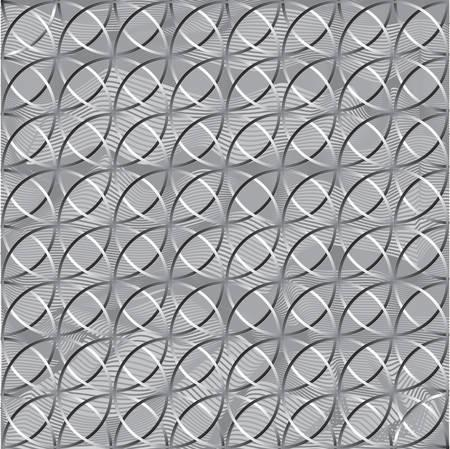 Decorative Metallic grid. Gray pattern with carved rounded shapes. 3d sample design. Abstract background for mobile Ilustração Vetorial