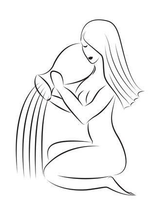 Aquarius. Abstract image of a seated woman with a jug. Vector illustration