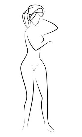 Black contour of Standing beautiful woman in the shower. Hand drawing illustration Archivio Fotografico - 134375778