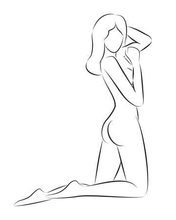 Black contour of nude beautiful woman. Hand drawing illustration Archivio Fotografico - 135934904