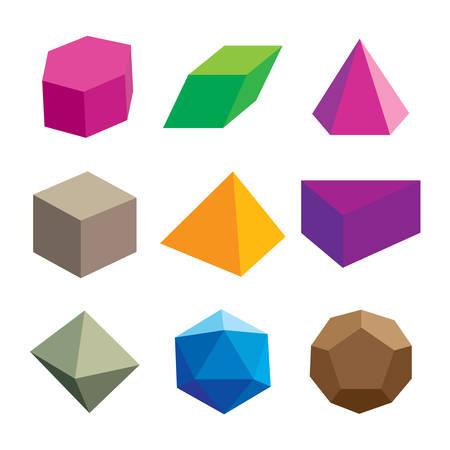 Conjunto de formas geométricas coloreadas volumétricas. Colección poliedro. Ilustración vectorial Ilustración de vector