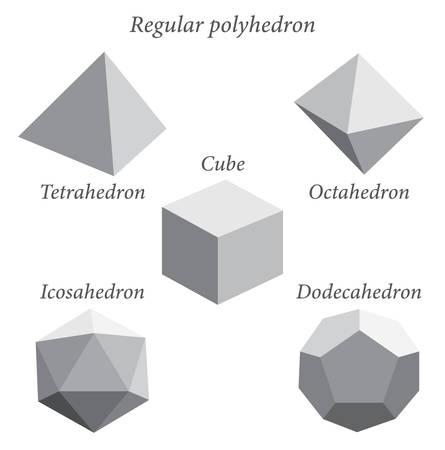 Set of gray volumetric geometrical shapes. Regular polyhedron. Vector illustration