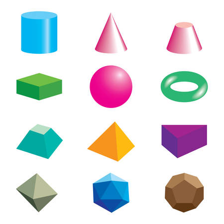 Set of volumetric geometrical colored shapes. Vector illustration Çizim
