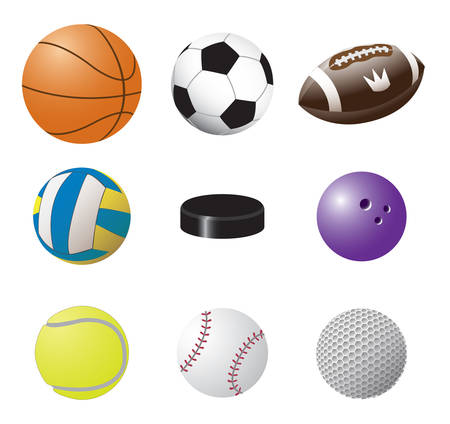 Colorful vector set of sport balls images: volleyball, basketball, football, american football, bowling, baseball, tennis, golf and Hockey puck Ilustración de vector
