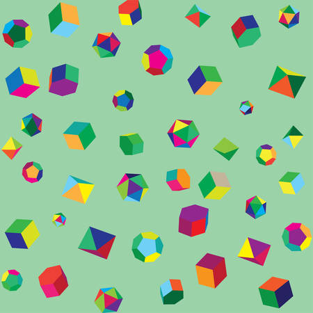 Wallpaper for the nursery. Abstract seamless background. Colored volumetric figures. Vector illustration