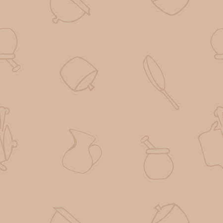 Seamless background. Set of kitchen accessories in doodle style isolated on white background