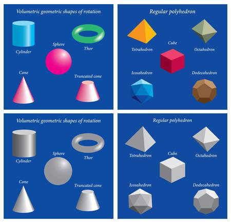 Set of volumetric geometrical colored shapes. Volumetric geometric shapes of rotation. Vector illustration