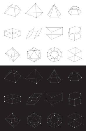 Set of volumetric geometrical colored shapes. Collection of polyhedron. Vector illustration Ilustração