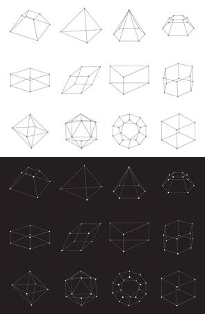 Set of volumetric geometrical colored shapes. Collection of polyhedron. Vector illustration Illustration