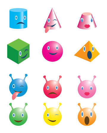 Set of geometric shapes and demons with emoticons. Vector illustration 写真素材 - 143373185