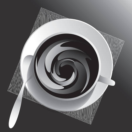 Cup and sauser with coffee, napkin and spoon from top view. Dark gray image