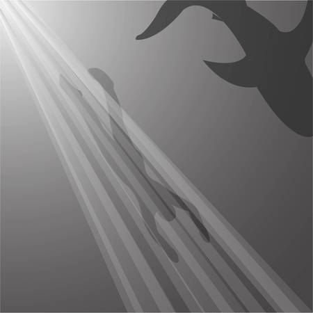 Silhouettes of diver and shark. Vector illustration Vectores