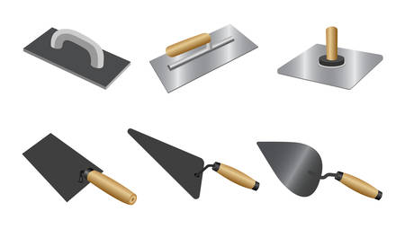 Set putty knife with wood handles. Isometric set of putty knife vector icons for construction and repair isolated on white background Vector Illustration