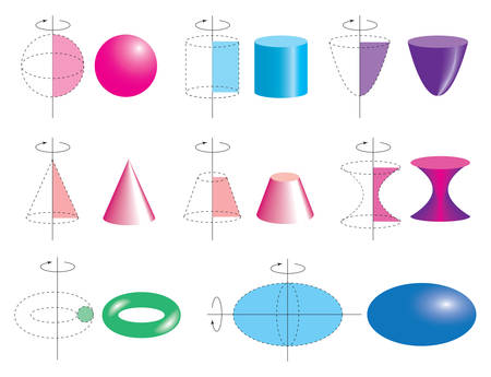 The formation of bodies of revolution. Set of volumetric geometrical colored shapes. Volumetric geometric shapes of rotation. Vector illustration Ilustração