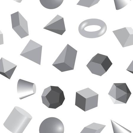 Seamless background of volumetric geometrical colored shapes. Vector illustration Ilustração