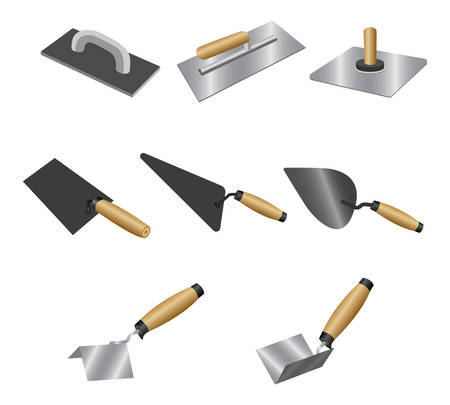 Set putty knife with wood handles. Isometric set of putty knife vector icons for construction and repair isolated on white background