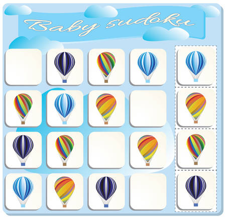 Baby Sudoku with colorful Balloons. Game for preschool kids, training logic