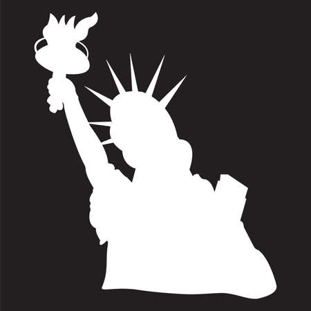 Statue of Liberty silhouette in NY, bust. Vector illustration