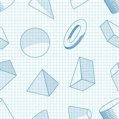 Seamless background of volumetric geometrical shapes. Vector illustration Ilustração