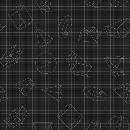 Seamless background of volumetric geometrical shapes. Vector illustration Illustration