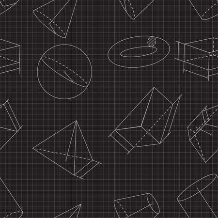 Seamless background of volumetric geometrical shapes. Vector illustration Ilustrace