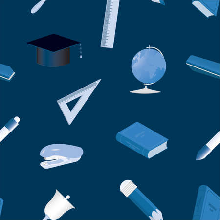 Seamless background. Set of school equipment icons. Vector illustration