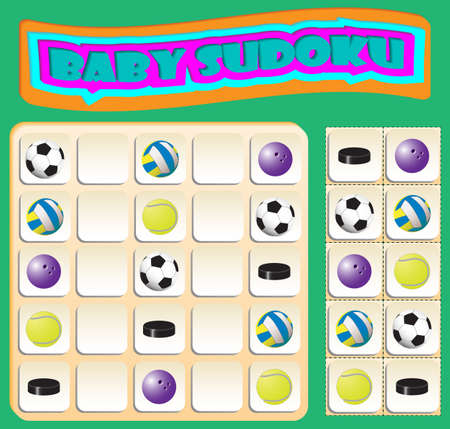 Baby Sudoku with colorful sports balls. Game for preschool kids, training logic