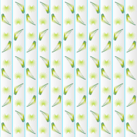 Window blinds, vertical closed jalousie with a pattern of palm branches, sun-blind curtains, home room interior mockup, vector illustration