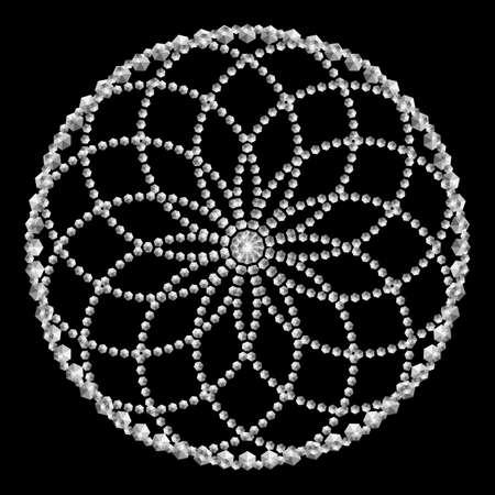 Mandala. Dotted Halftone Vector Spiral Color Pattern or Texture. Stipple Dot Backgrounds with hexagones Vektoros illusztráció