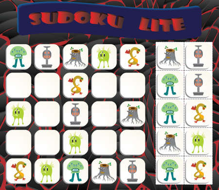 Sudoku lite with colorful monsters images. Game for preschool kids, training logic