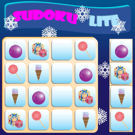 Sudoku lite with colorful Christmas symbols. Game for preschool kids, training logic