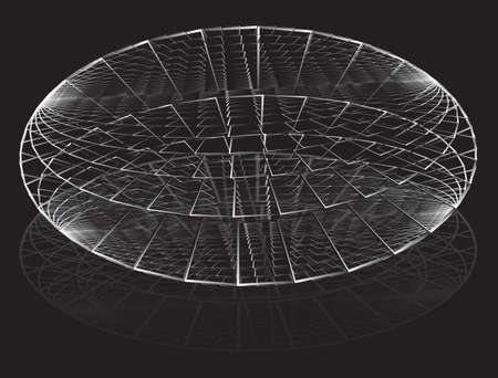 Abstract covered round arena sketch. Simple illustration of covered round arena vector sketch for web design isolated on black background  イラスト・ベクター素材
