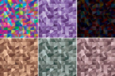 Set of Abstract backgrounds. Noise structure with colored tiles. Vector image