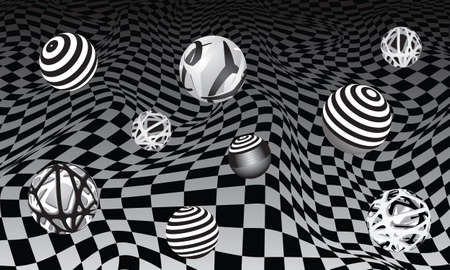 Set of decorative spheres on a black and white background. Abstract vector illustration