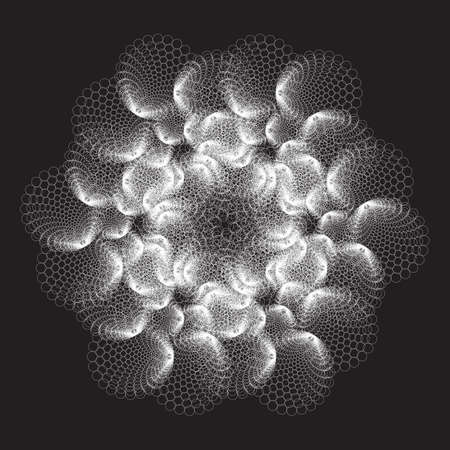 Mandala, gray fractal pattern. Dotted colorful Vector Spiral Pattern or Texture. Dot Backgrounds with Ellipses