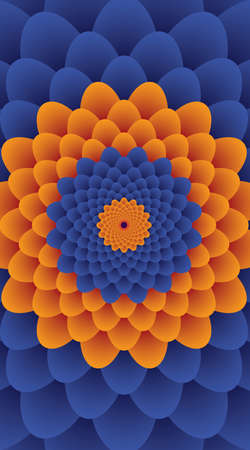 Flower. Color Vector Pattern or Texture. Yellow and blue Background Banco de Imagens