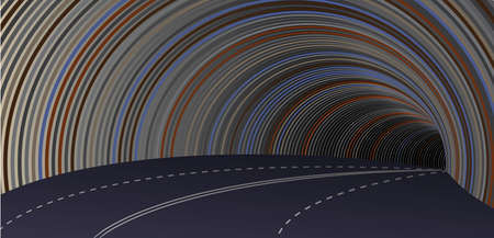 Highway tunnel, bend. Vector stylized image of the road in the tunnel